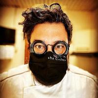Beard in kitchen